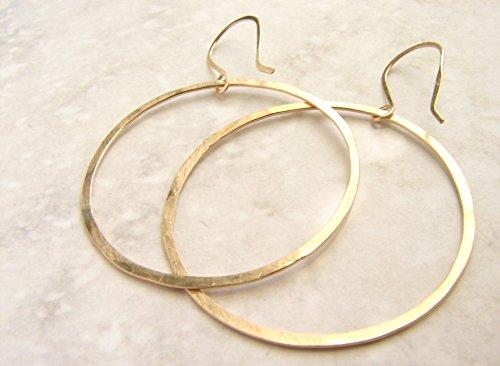 (Large Gold Hoop Earrings, hand hammered gold hoops - simple modern hoops, minimal hoop earrings )