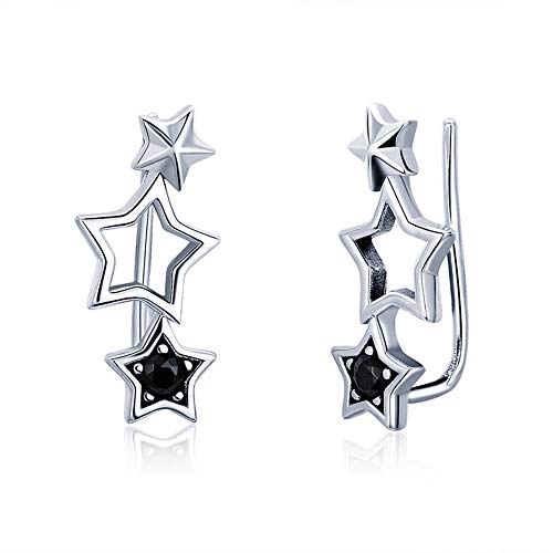 (Black CZ Star Climber Crawler Earrings for Women Teen Girls S925 Sterling Silver Crystal Diamond Sweep up Cuff Stud Post Pin Wrap Hypoallergenic Piercing Ear Fashion Jewelry Personalize Dainty Gifts)