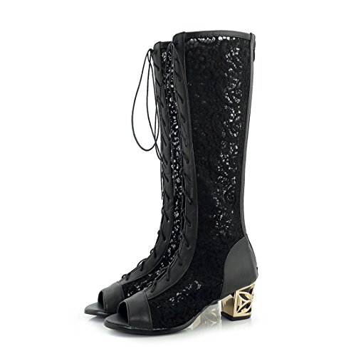 Europe, The United States Fish Mouth Cold Boots, Lace-Like with Bold, Large Numbers of high-Boots Black