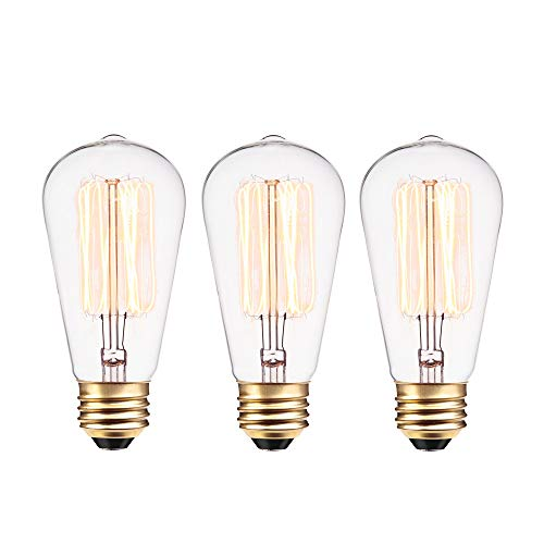 Globe Electric 40W Vintage Edison S60 Squirrel Cage Incandescent Filament Light Bulb 3-Pack, E26 Base, 145 Lumens 31324