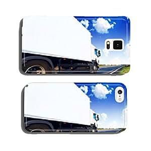 White truck on the asphalt road cell phone cover case Samsung S6