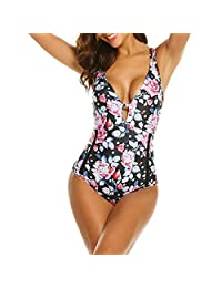 Sunmoot One Piece Swimsuits for Ladies Women Vintage Foral Print Sexy Deep V Backless Monokini Swimwear Bathing Suits