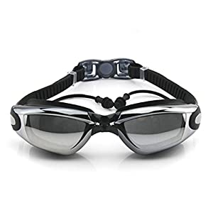 New Corrective Nearsighted Swimming Goggles(Prescription 2.0-8.0 Diopters) with Ear Plug connect to-100% Highest Grade UV Protection and Anti-fog(Black-2.0)