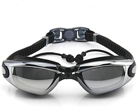 Corrective Nearsighted Swimming Goggles(Prescription 2.0-8.0 Diopters) with Ear Plug Connect to-100% Highest Grade UV Protection and Anti-Fog