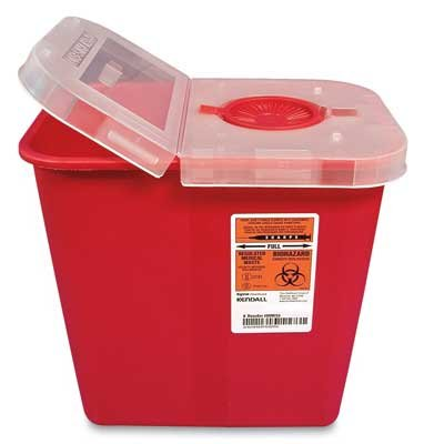 10-1/2'' x 7-1/4'' x 10'' Red Portable Sharps Container with Hinged Lid (2 Gallon) (1 Container) - AB-135-75