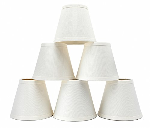 Set of 6 Linen Chandelier Shades, Eurus Home Pendant Lamp Shades for Ceiling,Drum Shaped Clip On Shades, Hardback,Dia 3