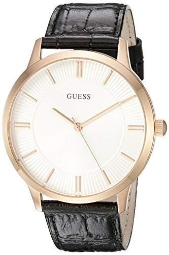 GUESS Men's U0664G4 Dressy Rose Gold-Tone Watch with Plain White Dial  and Genuine Leather Strap Buckle