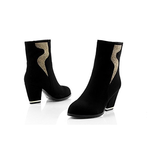 Heels B M Toe Solid with Boots Closed Low Square PU Heels 8 PU Black Frost Womens and AmoonyFashion US Round Zipper qUnHwBxXzt