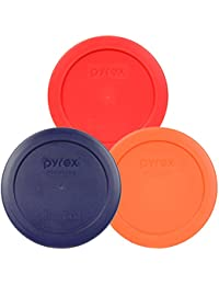 Investment Pyrex 7200-PC 2 Cup Round Storage Lid/Cover Red Blue Orange - 3 Pack reviews