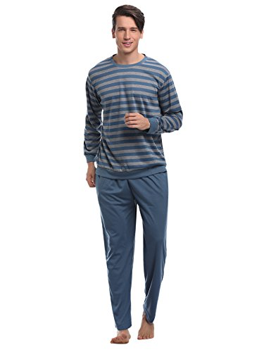 Discount Aibrou Mens Cotton Pajama Long Sleeve Striped Top and Bottom Pajama Set for cheap