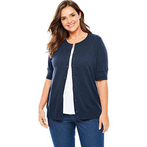 (Woman Within Women's Plus Size Perfect Elbow-Length Sleeve Cardigan - Navy, L)