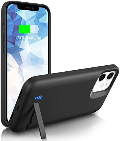 [Upgraded] SlaBao Battery Case for iPhone 11, 6800mAh Portable Charging Case with Kickstand, Priority Charging Rechargable Battery Pack for Apple 11 Backup Charger Case (6.1″)-Black