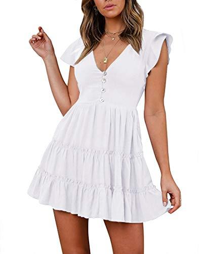 - TECREW Women's Casual Short Sleeve Summer Dress Buttons V-Neck Swing Mini Dress