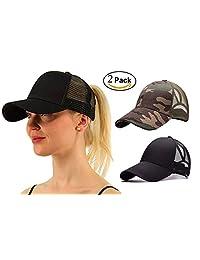 M_Eshop 2 Pack of Messy High Bun Ponytail Baseball Cap for Women Girls