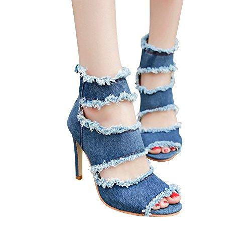 Punta 10cm Denim Scarpe Alto 2018 Tacco Cerniera Sexy a Eleganti Sandalo Dragon868 Estivi Scarpe Donna Sera Blu Donna zwxqIZP8Y
