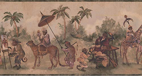 Wallpaper Border Monkey Beige Classic 15' x 10.5