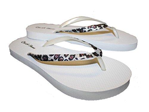 Kvinners Flip Flop Med Glitter Gepard Print Stropper Og Comportable Fotseng  Hvit