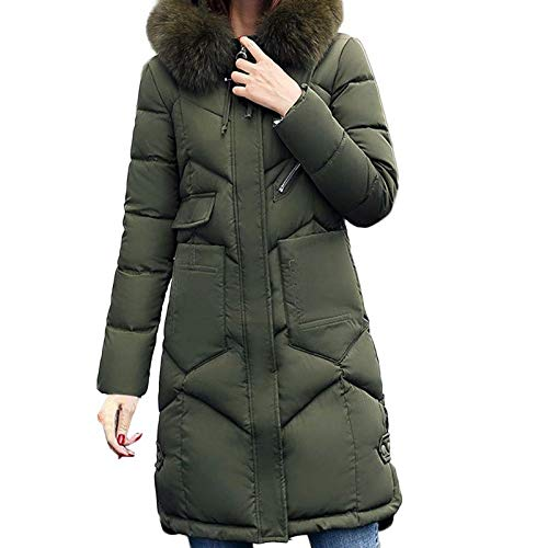 green Shirt Women Outerwear Fur Hooded Coat Long Casual Cotton Padded Jacket Pocket Coats Wild Tight for Women (color   Tiefgrey, Size   3XL)