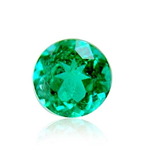 0.17 Carat Vivid Green Emerald Loose Gemstone Round Cut by Leibish & Co