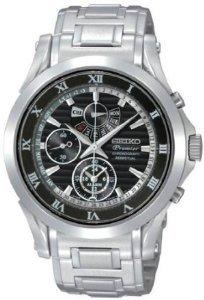 Seiko Premier Chronograph Black Dial Stainless Steel Mens Watch (Stainless Steel Premier Dress Watch)