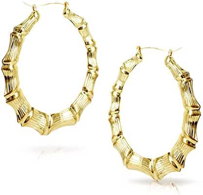 Round Hollow Casting Bamboo Hoop Pincatch Earrings (2.5 inches, Gold Color)