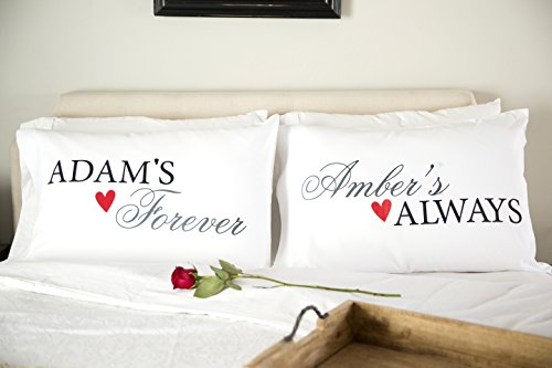 Personalized Couples Pillowcases - Romantic and Unique Wedding, Also New Engagement Gifts for Couple (Adam & Amber Design) by Qualtry