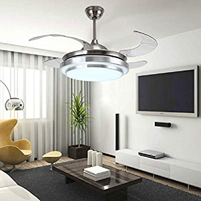 "Lighting Groups 42"" New Arrival LED Retractable Ceiling Fan Energy Saving Remote Control Fan Restaurant Ceiling Fans with Folded Blades Indoor Ceiling Lights Fixtures with Fans"