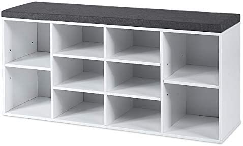 Giantex Shoe Bench Entryway with Storage Padded Cushions, Adjustable Shelves 10-Cube Organizer Rack for Living Room, Bedroom, Hallway Shoe Rack Cubbie Shoe Cabinet Storage Bench White