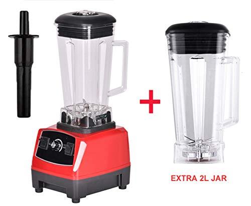 2200W 2L Commercial Grade Home Professional Smoothies Power Blender Food Mixer Juicer Food Fruit Processor,Red Extra 2L Jug,Uk Plug