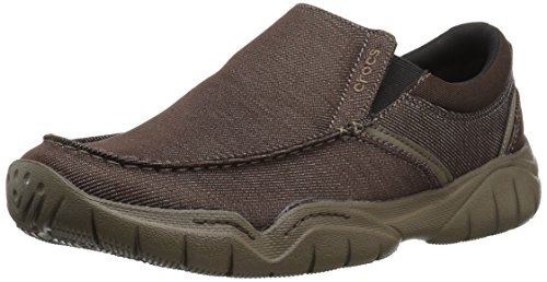 Crocs Men's Swiftwater Casual Slip-On Loafer Flat, Espresso/Walnut, - Walnut Espresso