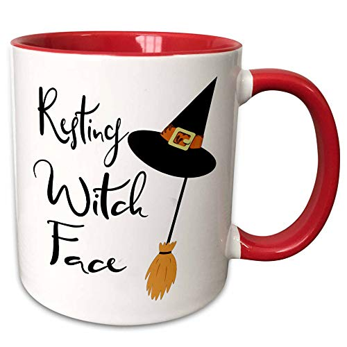 3dRose Anne Marie Baugh - Quotes, Sayings, and Typography - Resting Witch Face - Halloween Saying - 11oz Two-Tone Red Mug (mug_297023_5)