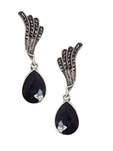 Art Deco Antique Vintage Style Flapper Wings Jet Black Onyx Pear Marcasite Rhinestone Wedding Bridal Prom Dangle Earrings