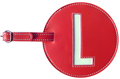 Luggage Tag Initial pb Travel RED L (Bag Leather Round Tags)