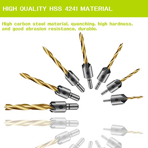 7PCS Countersink Drill Bit, Mgtgbao Titanium Plating Drill Bit Set Wood Drill Set Woodworking Countersink Chamfer, with One Hex Wrench for Wood Drilling or Woodworking Chamfer, 3-10mm Screw Size. by Mgtgbao (Image #4)