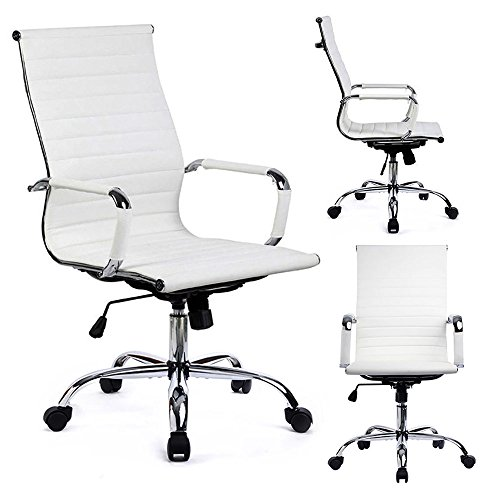 Gtracing Modern Ribbed Office Chair Leather Office Chair High Back Ergonomic Chair Swivel Conference