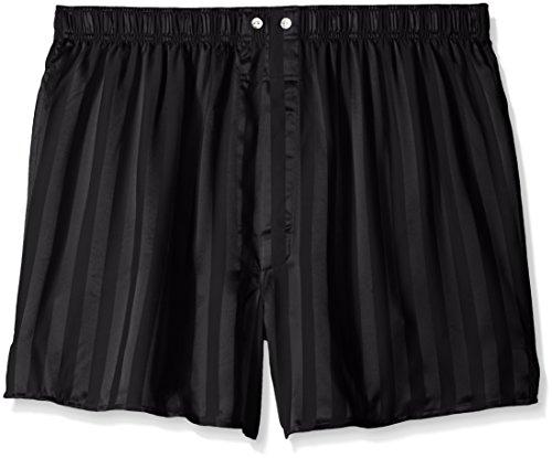 Intimo Men's Satin Stripe Boxer- Big Short, Black, X-Large