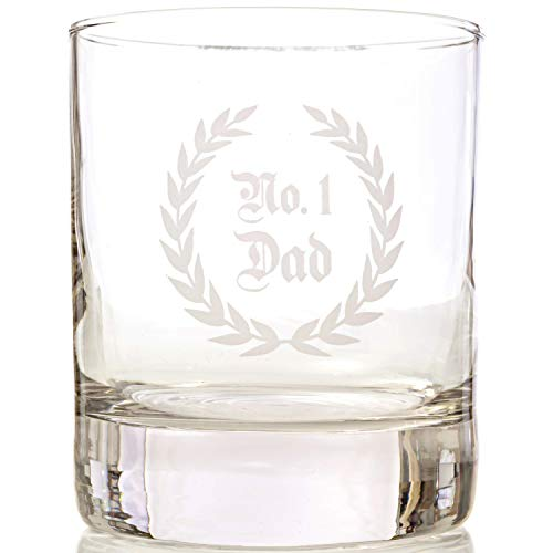 (Taylor'd Milestones No. 1 DAD Scotch Glasses, 10 oz Whiskey Glass Set of 2, Diamond Etched Strong on the Rocks Tumbler)