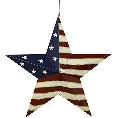(Metal Barn Star, American Patriotic Star Wall Decoration Outdoor Indoor Hanging Wall Decor Star Ornament 12inch (American Barn Star-B))