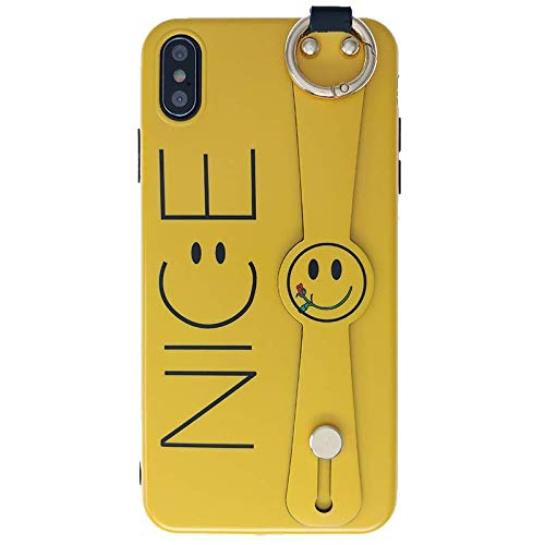 Ultra Slim Fit TPU Soft Smiley Face Yellow Case for Apple iPhone Xs Max 6.5 with Wrist Strap Holder Kickstand Metal Grip Ring Little Flower Creative Word Print Protective Lovely Gift Girls Teens (Lovely Word Print)