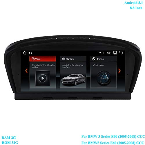 XISEDO Android 8.1 Head Unit 8.8 Inch 6-Core Car Stereo Car Radio RAM 2G ROM 32G Sat Nav Car GPS Navigation for BMW 3 Series E90 (2005-2008)/ BMW 5 Series E60 (2005-2008) Original CCC System ()