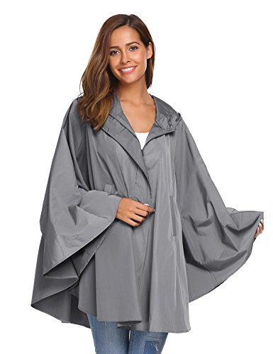 SoTeer Womens Rain Poncho Batwing-Sleeved Hooded Raincoat Waterproof Packable Rain Jacket Grey XL (Best Rain Poncho 2019)