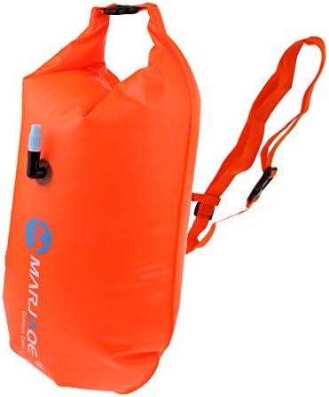 PVCスイムブイ ドライバッグ 調整可能 ウエストストラップ付き スイミングトウフロート オレンジ