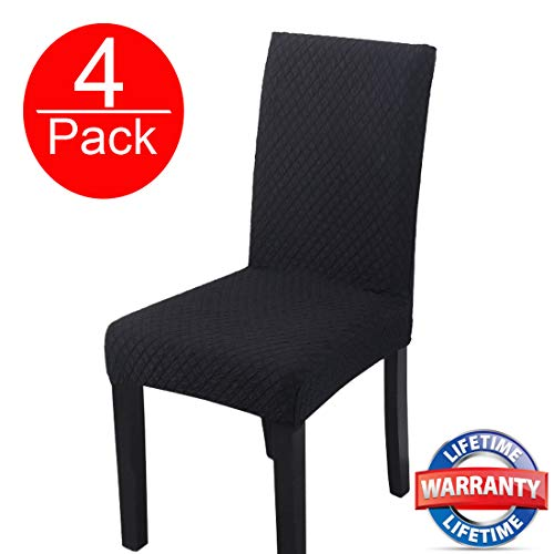 HOHONG Elegant Spandex Dining Room Chair Slipcovers Stretch Washable Dining Chair Covers for Dining Room Chairs, Parsons Chair, Office Chair - Black (4 Pack) (Hohong Ltd)