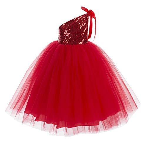 ekidsbridal One-Shoulder Sequin Tutu Flower Girl Dress Wedding Pageant Dresses Ball Gown Tutu Dresses 182 6 Red