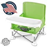 Serene Life Baby Seat Booster High Chair - Portable Space Saver High Chair Toddler Seat - Portable High Chair Pop-n-Sit Folding Feeding Booster w/Safety Belt/Food Tray/Travel Bag - SLBS66G (Green)