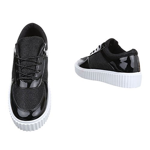 Damen Sneaker Schuhe Halbschuhe Mit Schnürung Schwarz 35 36 37 38 39 40 Schwarz