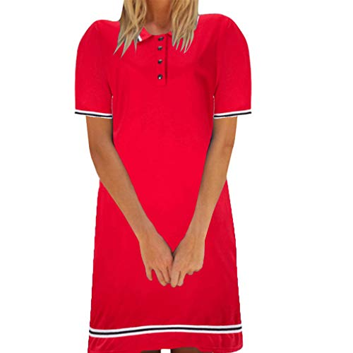 525408fe290 BESSKY Women's Sexy Summer Solid Short Sleeve Lapel Neck Stripe Easy  Fitting Dresses Red