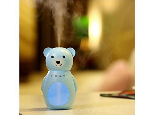 Yunqir Compatible Cute Bear LED Humidifier Air Diffuser Purifier Atomizer Aroma Diffuser(Blue)