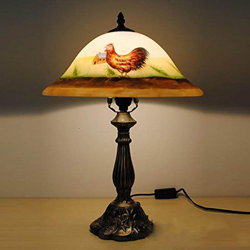 (Retro Painting Table Lamp with Glass Shade and Rooster Design)