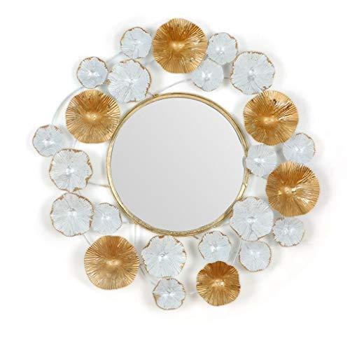 (ZHAS Concise Round Living Room Wall Mirror Lotus Leaf Border Wall-Mounted Mirror Premium Quality Frame Decoration Mirror 60.3cmx61.6cm)